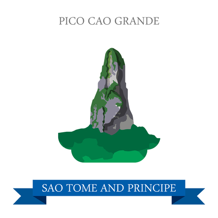 cartoon world: Pico Cao Grande in Sao Tome and Principe. Flat cartoon style natural sight showplace attraction web site vector illustration. World country vacation travel sightseeing Africa African island collection Illustration