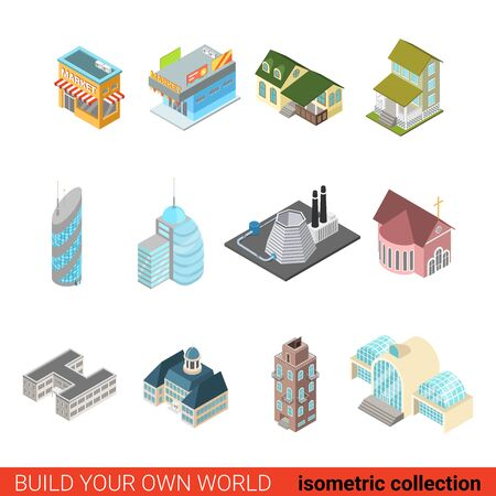 isometry: Set city building block business office center skyscraper power station church mini market concept. Flat 3d isometric isometry style vector illustration. Build your own infographics world collection.