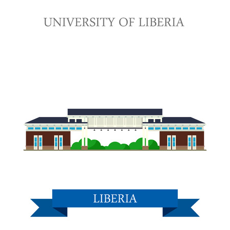 sightseeings: University of Liberia in Monrovia. Flat cartoon style historic sight showplace attraction web site vector illustration. World countries cities vacation travel sightseeing Africa collection. Illustration