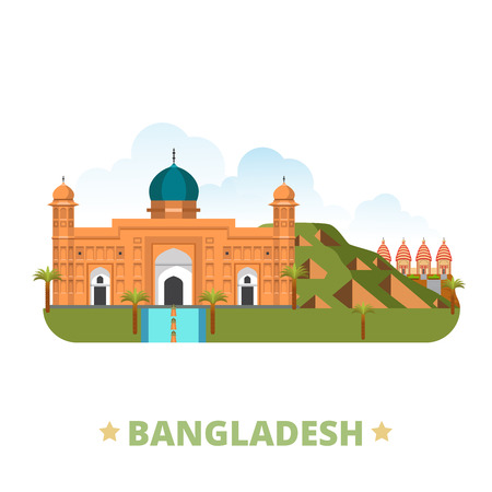 design template: Bangladesh country design template. Flat cartoon style historic sight showplace web site vector illustration. World vacation travel Asia Asian collection. Lalbagh Fort Mahasthangarh Dhakeshwari Temple Illustration