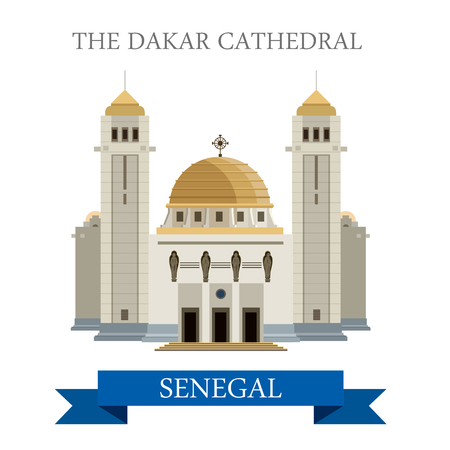 dakar: The Dakar Cathedral in Senegal. Flat cartoon style historic sight showplace attraction web site vector illustration. World countries cities vacation travel sightseeing Africa collection. Illustration