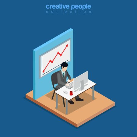 web site: Isometric business concept flat 3d isometry web site conceptual vector illustration. Creative people collection. Office businessman work table monitor chair graphic rising board wall computer success Illustration