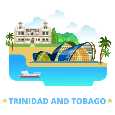 performing arts: Trinidad and Tobago country badge fridge magnet design template. Flat cartoon style historic sight showplace web site vector illustration. World vacation travel sightseeing North America collection. National Academy of Performing Arts National Museum and