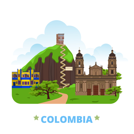 Colombia country badge fridge magnet design template. Flat cartoon style historic sight showplace web site vector illustration. World vacation travel sightseeing South America collection. Plaza de Bolivar in Bogota La Piedra La Candelaria in Bogota