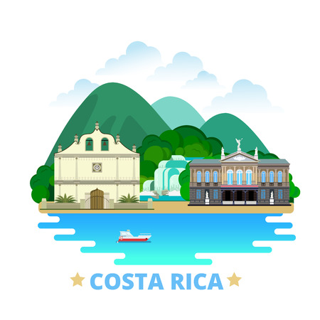 cultural history: Costa Rica country design template. Flat cartoon style historic sight showplace web vector illustration. World vacation travel North America collection. National Theatre Iglesia Colonial De San Blas.