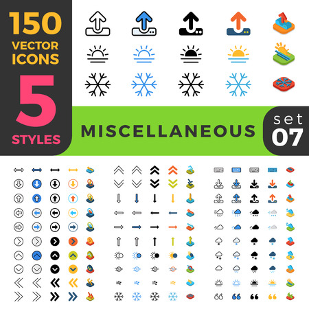 miscellaneous: 150 miscellaneous misc ui icon set. Linear outline flat isometric 5 styles icons. Five style vector mobile app application software interface web site element sign symbol 2d 3d object collection. Illustration