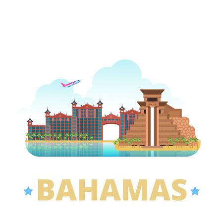 badge diseño de la plantilla del imán del refrigerador Bahamas. estilo de dibujos animados plana vista escaparate histórico ilustración vector sitio web. viajes de vacaciones mundo Visitas colección de América. Atlantis Paradise. Ilustración de vector