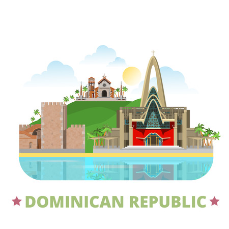 central america: Dominican Republic country badge design template. Flat cartoon style historic sight showplace web site vector illustration. World vacation travel sightseeing North Central America collection.