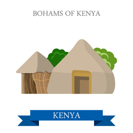 historic: Bomas of Kenya. Flat cartoon style historic sight showplace attraction web site vector illustration. World countries cities vacation travel sightseeing Africa collection.