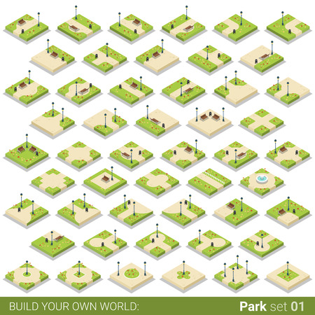 Isometric park walkway street square building block vector icon set. Flat 3d isometry green grass city object fountain lantern bench lawn. Build your own world creative design collection.