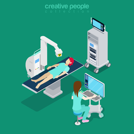 isometry: Isometric medical hospital computer diagnostic test patient woman modern equipment doctor operator. Flat 3d isometry style web site vector illustration. Creative people collection