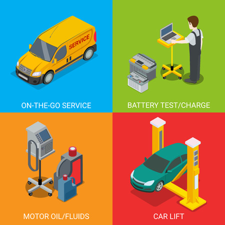 motor vehicle: Technical inspection car service mockup vector set. Isometric checking vehicle web site illustration. Battery test charge motor oil fluid car lift computer automatic diagnostic on colour background. Illustration