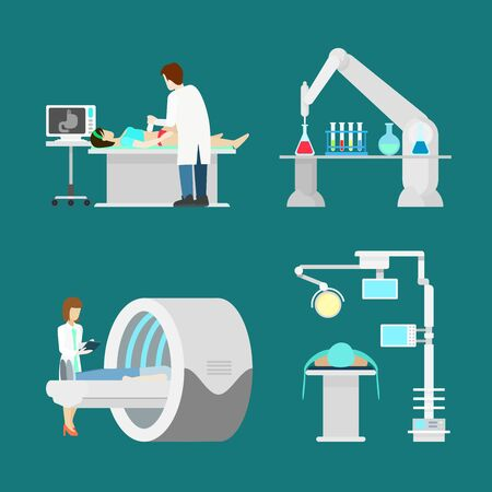 ultrasonic: MRI US ultrasonic ultrasonography magnetic resonance imaging. Flat style hospital profession specialist concept vector people icon set hospital patient checkup doc nurse. Creative people collection.