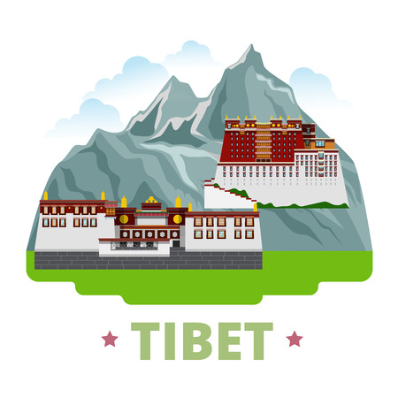 Tibet country design template. Flat cartoon style historic sight showplace web site vector illustration. World vacation travel sightseeing Asia Asian collection. Potala Palace Lhasa Drepung Monastery. Ilustração