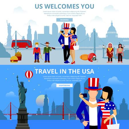 brooklyn bridge: Travel agency flat design illustration set. Travel in the USA US landmarks welcomes you. People selfie on New York city Brooklyn Bridge background. Cowboy indian hamburger fries man woman photographer