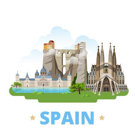 Spain country flat cartoon style historic sight showplace web vector illustration. World travel Europe collection. Ronda Bridge El Escorial Monastery Sagrada Familia Gaudi Basilica Temple Holy Family. Illustration