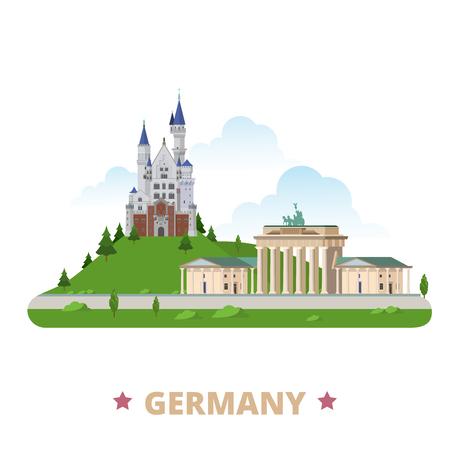 Germany country design template. Flat cartoon style historic sight showplace vector illustration. World travel Europe European collection. Brandenburg Gate Neuschwanstein Castle Schloss New Swanstone. Vettoriali