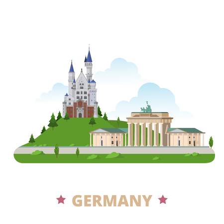 Germany country design template. Flat cartoon style historic sight showplace vector illustration. World travel Europe European collection. Brandenburg Gate Neuschwanstein Castle Schloss New Swanstone. Иллюстрация