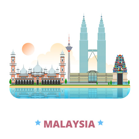 Malaysia country design template. Flat cartoon style historic sight web vector illustration. World travel Asia collection. Petronas Twin Sri Mahamariamman Hindu Temple Jamek Mosque Kuala Lumpur Tower. Vettoriali