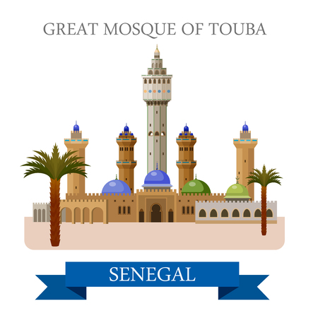 points of interest: Great Mosque of Touba in Senegal. Flat cartoon style historic sight showplace attraction web site vector illustration. World countries cities vacation travel sightseeing Africa collection.