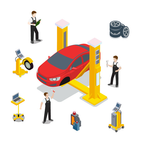 Technical inspection red car service mockup vector template. Isometric checking vehicle web site illustration. Red car wheel tire rubber computer automatic diagnostic infographics on white background.