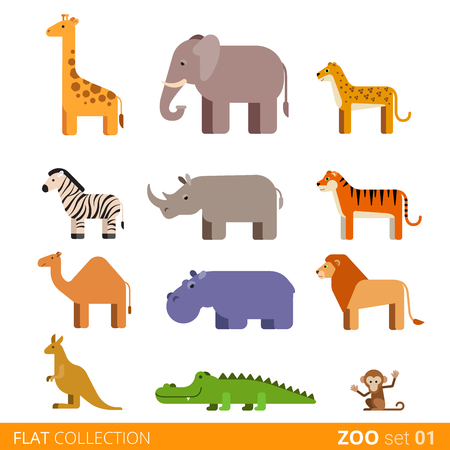 lion vector: Cool flat design trendy style vector icon set. Zoo children wild farm domestic animal cartoon collection. Giraffe elephant cheetah zebra rhinoceros tiger camel hippo lion kangaroo crocodile monkey. Illustration