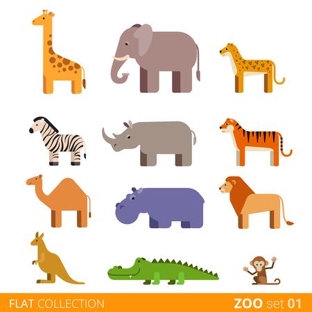 Koele platte ontwerp trendy stijl vector icon set. Dierentuin kinderen wilde boerderij huisdier cartoon collectie. Giraffe olifant cheetah zebra neushoorn tijger kameel nijlpaard leeuw kangoeroe krokodil aap. Vector Illustratie