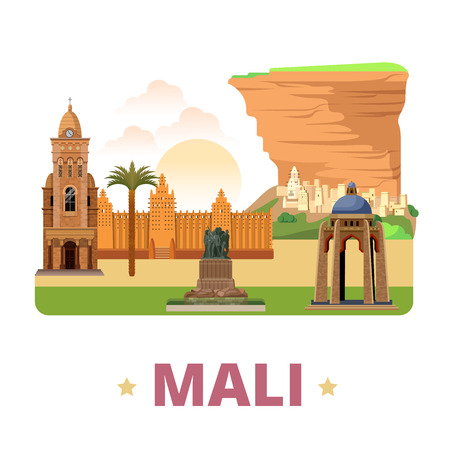 Mali country flat cartoon style historic sight web vector illustration. World vacation travel Africa African collection. Bandiagara Escarpment Monument al Quoods Djenne Great Mosque Bamako Cathedral. Ilustração
