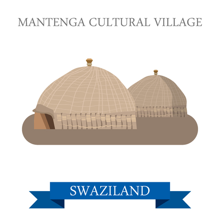 points of interest: Mantenga Cultural Village in Swaziland. Flat cartoon style historic sight showplace attraction web site vector illustration. World countries cities vacation travel sightseeing Africa collection.