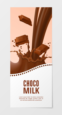 choco: Sweet chocolate milk vertical realistic banner 3d vector illustration. Business flyer with choco splash milk isolated on white background.