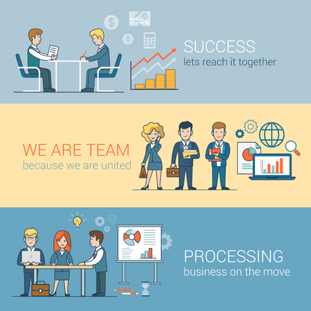 Teamwork Success Processing infographics. Linear flat line art style business people concept. Conceptual businesspeople team work vector illustration collection. Globe laptop table man woman board. Ilustrace