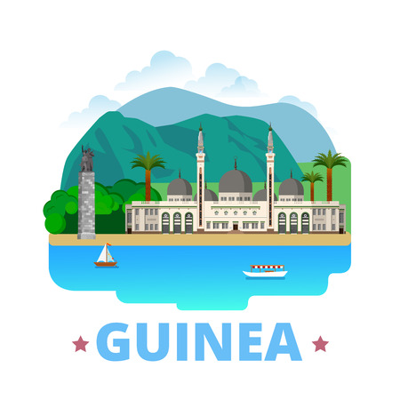 sightseeings: Guinea country design template. Flat cartoon style historic sight showplace web vector illustration. World vacation travel Africa African collection. Grand Mosque Monument Du 22 Novembre 1970 Conakry.