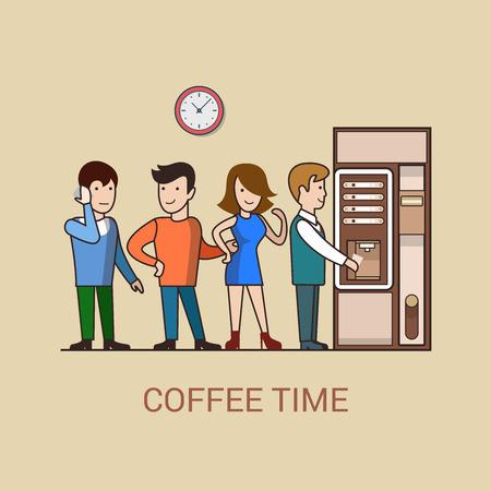 直線アート ビジネスのコーヒー ブレーク漫画コンセプト フラット アイコン。コーヒー自販機の前に行事務所スタッフの人々 をオンにします。Web