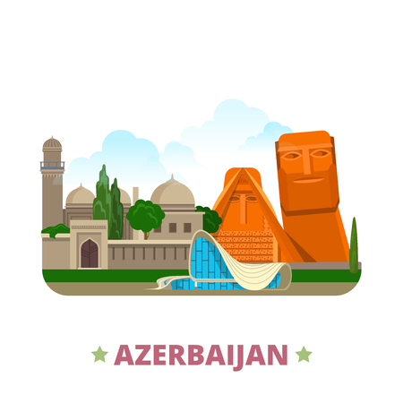 asia style: Azerbaijan country Flat cartoon style historic sight showplace web vector illustration. World vacation travel Asia Asian collection. We are our Mountains Palace of Shirvanshahs Heydar Aliyev Center.