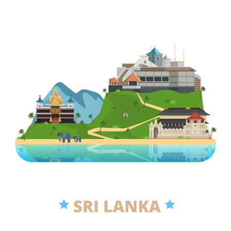 historic site: Sri Lanka country badge fridge magnet whimsical design template. Flat cartoon style historic sight showplace web site vector illustration. World vacation travel sightseeing Asia Asian collection.