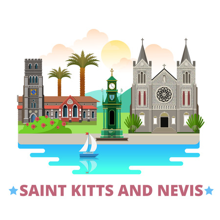 immaculate: Saint Kitts and Nevis country flat cartoon style historic sight showplace web site vector illustration. World vacation travel North America collection. Basseterre co-Cathedral of Immaculate Conception