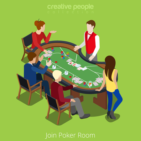 and the stakes: Isometric poker room join concept. Player shuffler card play match stakes. Gamble gambling online casino app application conceptual. Creative people collection. Illustration