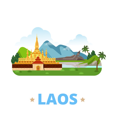 points of interest: Laos country magnet design template. Flat cartoon style historic sight showplace web site vector illustration. World vacation travel sightseeing Asia Asian collection. Buddha Park Pha That Luang.