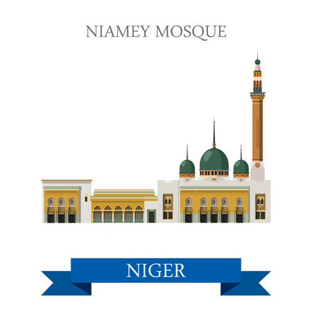 world heritage: Niamey Mosque in Niger. Flat cartoon style historic sight showplace attraction web site vector illustration. World countries cities vacation travel sightseeing Africa collection.