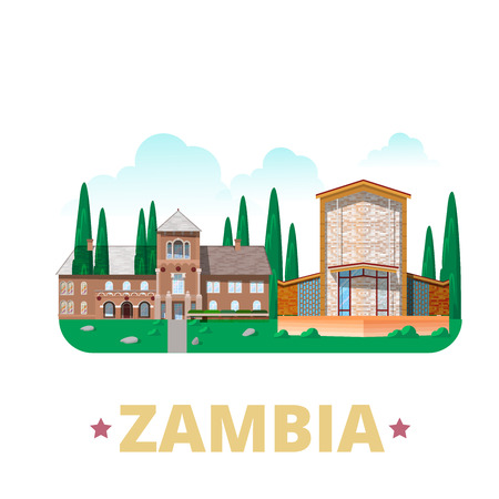 zambian: Zambia country design template. Flat cartoon style historic sight showplace web vector illustration. World vacation travel Africa African collection. Shiwa Ngandu Anglican Cathedral of the Holy Cross. Illustration