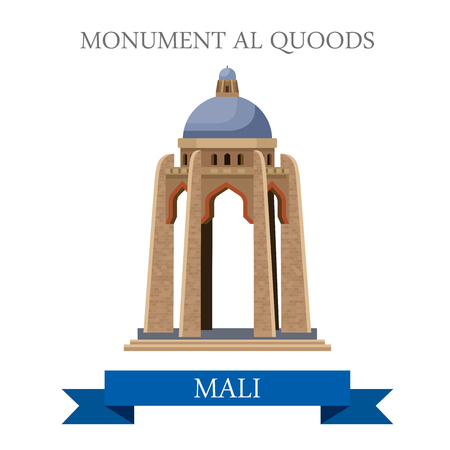 bamako: Monument al Quoods in Bamako in Mali. Flat cartoon style historic sight showplace attraction web site vector illustration. World countries cities vacation travel sightseeing Central Africa collection.