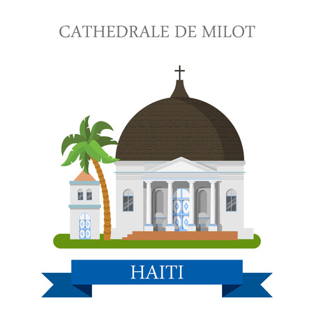 central america: Cathedrale de Milot in Haiti. Flat cartoon style historic sight showplace attraction web site vector illustration. World countries cities vacation travel sightseeing  Central America collection.