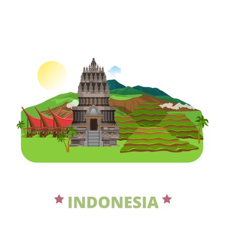 Indonesia country design template. Flat cartoon style historic sight showplace web site vector illustration. World travel sightseeing Asia collection. Prambanan Hindu, Ubud, Toraja Land, Mount Bromo.