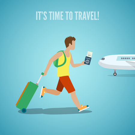 luggage travel: Time to travel agency web site flyer brochure vacation tourism vector illustration. Man with ticket in hand backpack and suitcase baggage running on plane. People visit countries cities landmarks.