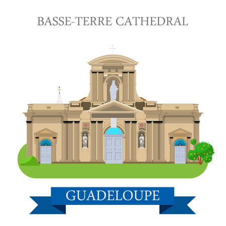 guadeloupe: Basse-Terre Cathedral in Guadeloupe. Flat cartoon style historic sight showplace attraction web site vector illustration. World countries cities vacation travel sightseeing America collection.
