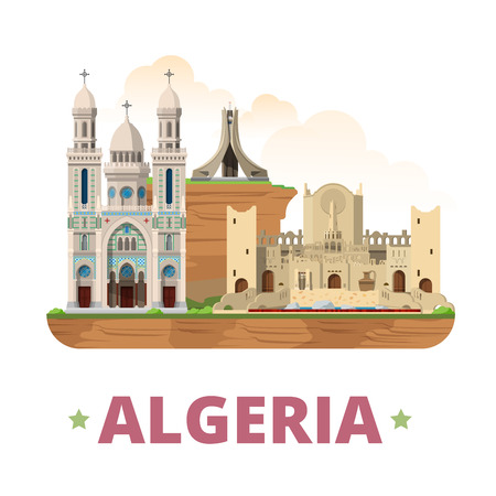 sightseeings: Algeria country design template. Flat cartoon style historic sight showplace web site vector illustration. World vacation travel Africa African collection. Basilique St Augustin Mzab Maqam Echahid.