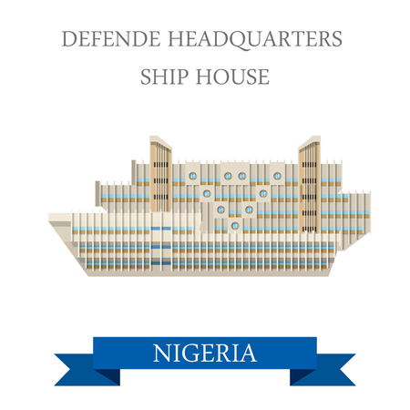 headquarters: Defense Headquarters Ship House in Nigeria. Flat cartoon style historic sight showplace attraction web site vector illustration. World countries cities vacation travel sightseeing Africa collection. Illustration