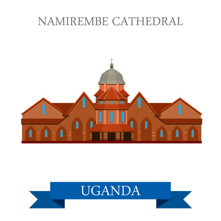 catholic: Namirembe Cathedral in Uganda. Flat cartoon style historic sight showplace attraction web site vector illustration. World countries cities vacation travel sightseeing Africa collection.