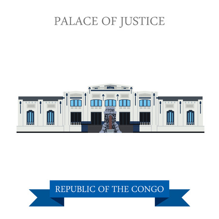 world heritage: Palace of Justice in Kinshasa in Republic of the Congo. Flat cartoon style historic sight showplace attraction web site vector illustration. World cities vacation travel sightseeing Africa collection Illustration