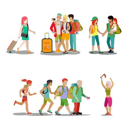 가족 휴가 사람들이 아이콘을 설정합니다. 남자 여자 아이 부모, 재미, 기쁨, 활동, 해변, 놀이, 휴일, 웹, 벡터 일러스트 레이 션. 여행 관광 활성 라이 일러스트